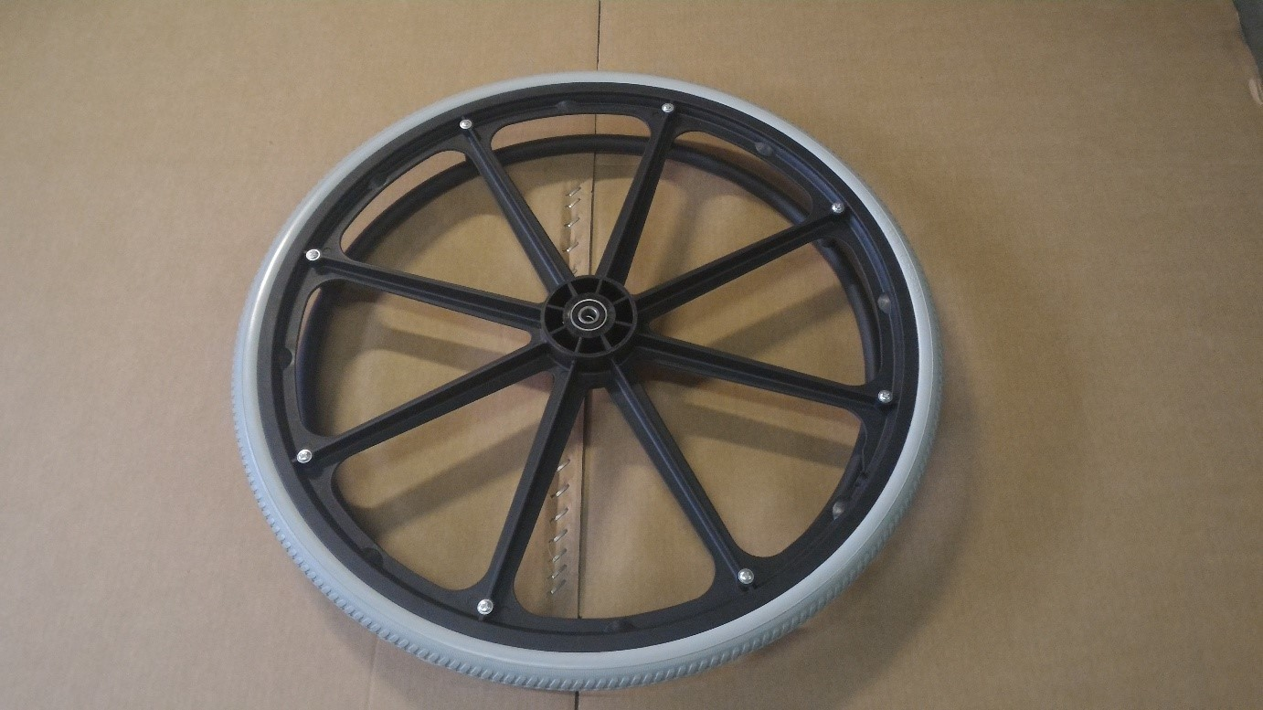"Wheelchair wheel 24"" with plastic rim"